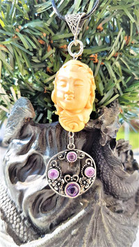 pendentif bouddha buis sculter amethyste