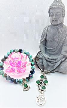 parure bracelet pendentif agate bleu vert 3M