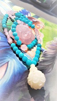 collier mala jade bleu et pierre rouler quartz rose fleur de lotus jade blanc