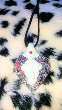 collier coeur jaspe sculter pate polymere
