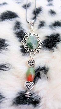 collier agate mousse perle veine du dragons coeur celtique metal