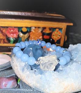 bracelet angelite fleur de crystal de roche