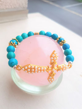 bracelet turquoise croix emaux perle