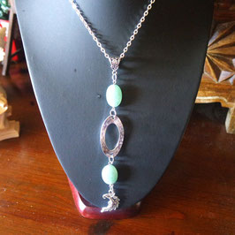 collier amazonite lune metal