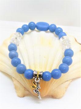bracelet angelite crystal de roche