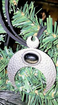 collier lune metal obsidienne dorée