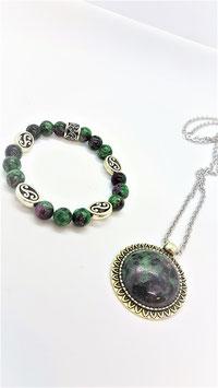 parure zoisite bracelet celtique pendentif rond