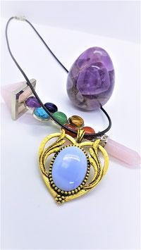 opale bleu coeur metal dorée