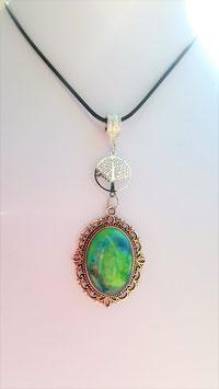 collier pendentif agate arbre de vie filigrane metal argent