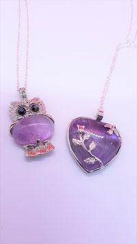 pendentif chouette / coeur amethyste