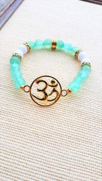 bracelet jade vert d'eau blanc 3M dorée