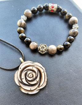 créations obsidienne dorée bracelet et pendentif rose