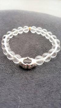 bracelet crystal de roche main coeur metal