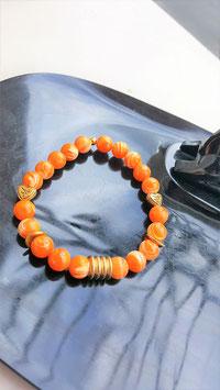 bracelet nacre orange perle cuivre energie