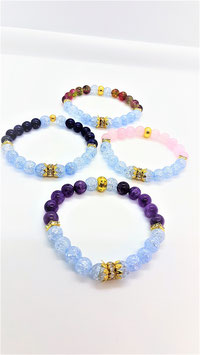 bracelet aqua aura bleu craqueter mineraux