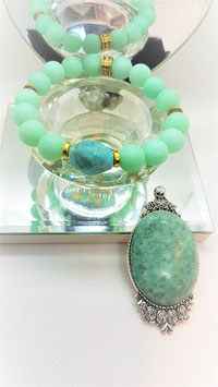 parure amazonite pendentif bracelet pierre brute et mat ronde
