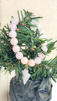 bracelet quartz rose fleche et perles