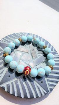 bracelet pierre turquoise mat 1 cm