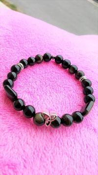 bracelet triskel obsidienne dorée
