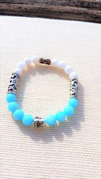 bracelet jade aqua et blanc bouddha argent 925
