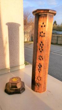porte encens bois hexagonale