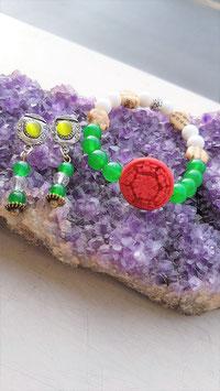 bracelet boucle d'oreille jade tibetaine