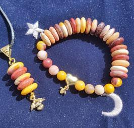 pendentif bracelet rondelle jaspe mokaite