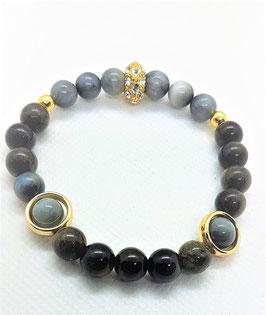 bracelet oeil de faucons obsidienne dorée cage perle metal dorée