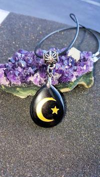 collier pendentif lune etoile obsidienne noir