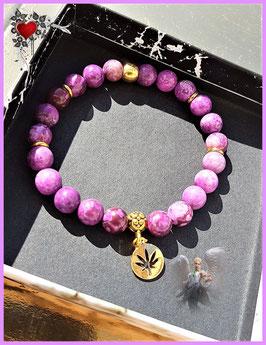 bracelet feuille erable plaqué or pierre sugilite