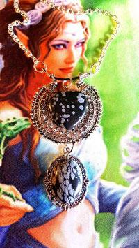 collier coeur et ovale obsidienne neige