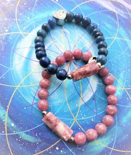 bracelet lepidolite bleu et rose