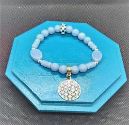 bracelet angélite fleur de vie