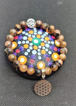 bracelet chiastolite fleur de vie