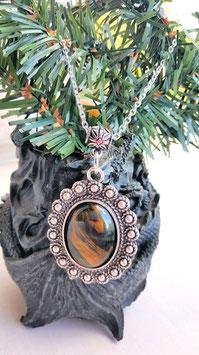 collier pendentif oeil de faucon 3 x 2 cm