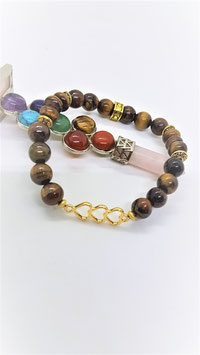 bracelet oeil de tigre 3 coeur metal dorée