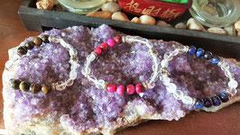bracelet crystal de roche oeil de tigre bouddha metal argent