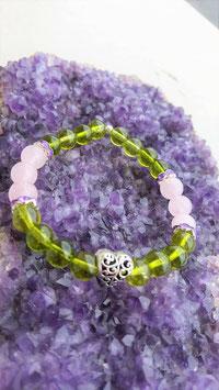 bracelet peridot quartz rose