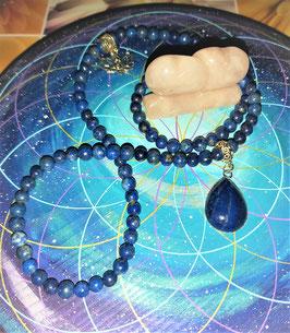 collier lapis lazuli cabochon 100 perles