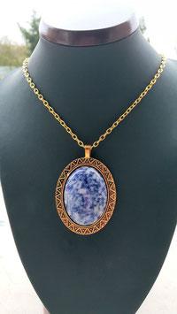 collier pendentif pierre sodalite 5 cm