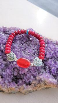 bracelet pierre rubis coeur ceramique reku