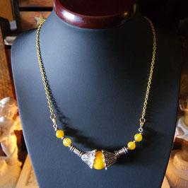 collier ethnique jade jaune ambre