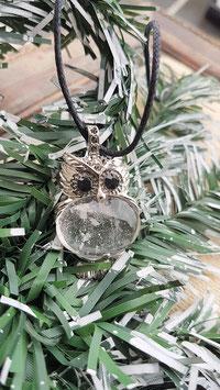 pendentif chouette argent crystal de roche