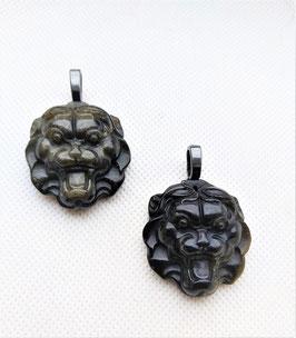 pendentif lion obsidienne dorée 3 cm