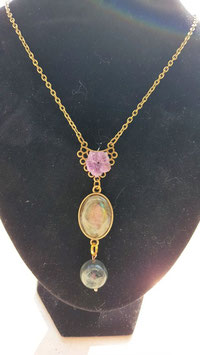 collier fleur amethyste pierre et perle labradorite