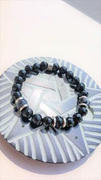 bracelet onyx rondelle perle facette