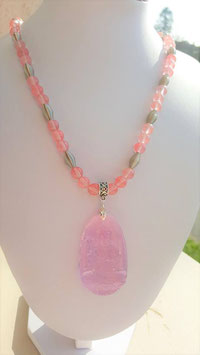 collier quartz cerise bouddha quartz rose