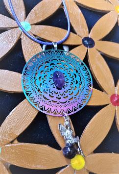 pendentif fleur de vie pierre et fée améthyste argent 925