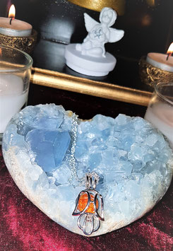 pendentif ange metal argent perle pierre ambre