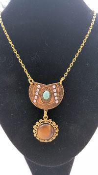 collier connecteur antique bronze turquoise oeil de tigre